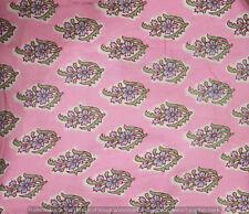 Indian Hand Block Print Running Loose Cotton Craft Pink Fabrics Printed Decor
