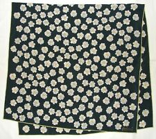 "Luxury FABRIC FRONTLINE Zurich FLORAL Green Gray Crepe Silk Swiss 52"" Long SCARF"