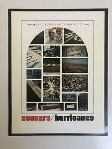 1973 OKLAHOMA SOONERS vs MIAMI HURRICANES 11x14 Football Poster BARRY SWITZER