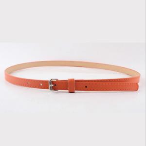 Simple Ladies Women Fashion Skinny Thin Faux Leather Adjustable Waist Belt UK