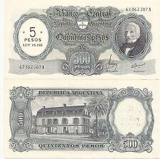 ARGENTINA $5 LEY 18188 ON 500.- P-283 UNC B-2207 M-48 RARE!