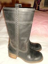 Mid Calf Dark Brown Real Leather Boots SIZE: UK 5 EU 38