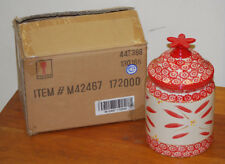 """Temptations """"Old World"""" design 2qt. Red Canister/Cookie Jar with Ceramic Lid"""