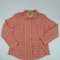 Duluth Trading Co. Womens Large Button Up Shirt Plaid Long Sleeve Nylon Blend