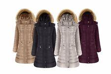 Women's Designer Winter Parker Quilted Coat Fur Hooded Long Ladies Outerwear Jkt