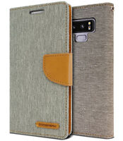 For Galaxy S10 Plus 5G Note 9 Canvas Denim leather flip Rugged Wallet Case Cover