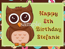Hippie OWL Edible ICING Image Birthday CAKE Decoration Topper FREE SHIPPING