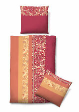 Castell Biber Bettwäsche 4 tlg RV 135x200 Ornamente rot orange 1B Ware