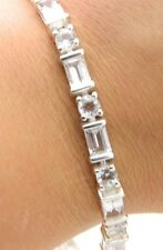"VTG Stunning .925 Sterling Silver Clear CZ Rhinestone Track Bracelet 7.25"" B"
