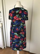 George Women's Black Floral Frilled Halterneck Dress Size 10 Eu 38