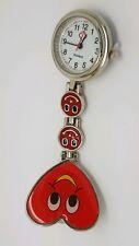 Red Heart Shape Smiley Face Nurse Quartz Clip-on Fob Pocket Watch Pin Brooch