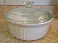 CORNING WARE 1 1/2 Qt French WhiteCasserole Bowl Baking Dish F-5-B  & Pyrex Lid