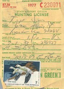 1977 USA Canard Tampon #RW44 + Upland Washington Chasse & Pêcher Licence