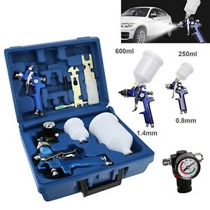 2 PCS Auto Paint HVLP Air Spray Gun Kit Gravity Feed Car Primer 0.8/1.4mm Nozzle