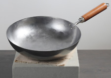 12.5inch Hand Hammered Uncoated Carbon Steel Pow Wok cooking Pan