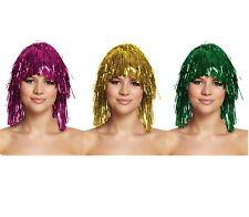 Tinsel Wig Pink Gold Green Set Of 3 Metallic Foil Festival Fancy Dress Party