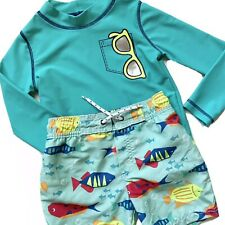 New listing Carter's Swim Set 3T Toddler Boy Trunks Long Sleeve Rash Guard Fish Sunnies