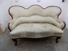 recover,small,victorian,antique,curved,two seat,sofa,sprung,wood legs,refurbish