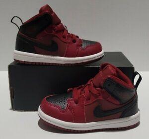 Nike Jordan 1 Mid TD Team Red/Black/White Toddler Sz 6c NEW 640735 601 NoLid