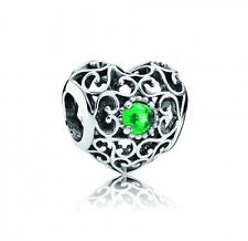 NEW! Authentic Pandora May Signature Heart Green Crystal Charm #791784NRG $55