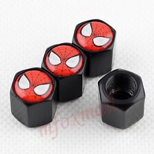 Air Tyre Tire Valve Cap Car Wheel Rim Dust Cover For Spider Man Badge Part Black