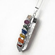 FuNkY Quartz Crystal Point 7 Chakra Pendant Sterling Silver Necklace CHARGED Rei