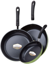 Ozeri 8 in., 10 in., 12 in. Green Earth Frying Pan Nonstick Skillet Set Cookware