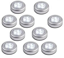 12 Round LED Battery Operated Stick On Under Cabinet Cupboard Push Lights