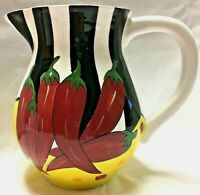 VINTAGE CARDINAL, INC HOT AND SPICY 2 QUART CERAMIC PITCHER HANDPAINTED