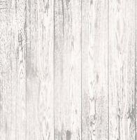 NEW 2107 | Modern Metallic 3D Effect Wood Panel Wallpaper White/Silver FD41957