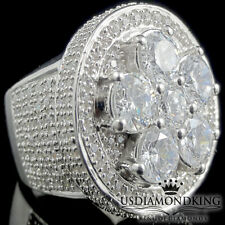 MEN'S BIG ALL WHITE CZ'S WHITE GOLD FINISH STERLING SILVER BOLD PINKY RING BAND