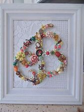 *ORANGE & YELLOW* Vintage Jewelry Framed Christmas Tree ~INITIAL B~ Letter