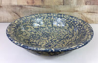 Vintage Roseville Pottery Blue Spongeware Basin RRP Basin 12 Inch