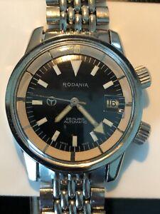 Vintage Rodania Automatic 600 Diver Super Compressor black dial