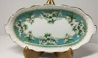 Queen Anne China from England Marilyn Tray 9 x 4 1/2 inches Turquoise Floral