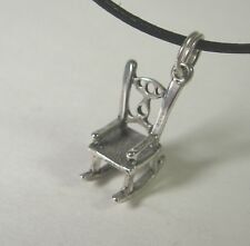 Rocking Chair Charm Pendant Necklace .925 Sterling Silver USA Made Rocker