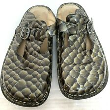 Alegria PG Lite Green Crocodile Leather Mules Slides Clogs 38 US 8 - 8.5 ALG-814