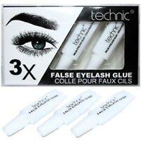 TECHNIC EYELASH GLUE 3 x Tubes CLEAR Fake False Adhesive Set Strong Sealed 21504