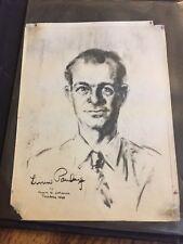 Vtg Scrapbook Famed Princeton Professor Frank H. Johnson Sketches Linus Pauling