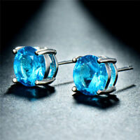 Genuine Sky Blue Topaz Gemstone 925 Sterling Silver  Round Stud Earrings - March