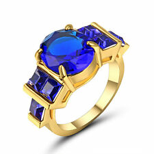 Round Cut Blue Sapphire Big Stone Wedding Ring 10KT  yellow Gold Fillled Size 7