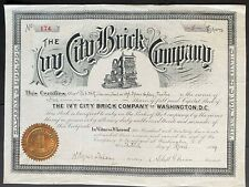 IVY CITY BRICK COMPANY Stock 1894. Washington, D.C. Brick-Making Vignette. NICE