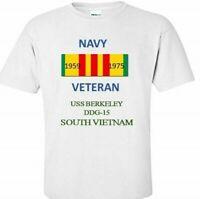 USS BERKELEY  DDG-15* VIETNAM*VIETNAM VETERAN RIBBON1959-1975 SHIRT