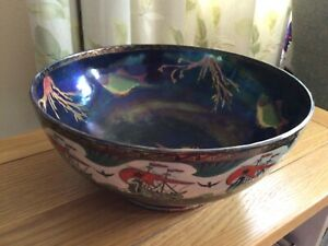 """Maling, Very Rare & unusual VERY Large 10.75"""" Bowl. Hand painted/finished."""