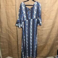 Divided H&M Maxi Dress Boho Festival Blue Print 14 Open Back
