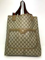 Auth Gucci Old Gucci Tote Bag Sherry line Browns PVC 56805413