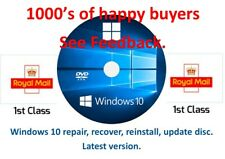 Windows 10 repair, recovery, reinstall  disc ,64bit, latest version 1909, 2019