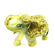 1475Ct Green Aventurine Gemstone Carved Elephant figurine lucky gold Painted