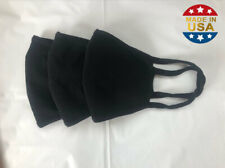 Cotton Pocketed Face Mask (Black) x3 -Breathable, Washable, Reusable-Made in USA