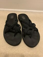 Teva Size 10 Womens Olowahu #6840 Mix Black Strappy Thong Sandals
